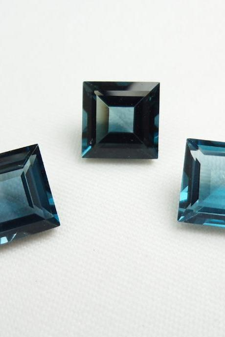 5mm Natural London Blue Topaz Faceted Cut Square 2 Pieces Top Quality Blue Color - Loose Gemstone Wholesale Lot For Sale