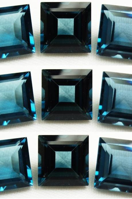 6mm Natural London Blue Topaz Faceted Cut Square 5 Pieces Top Quality Blue Color - Loose Gemstone Wholesale Lot For Sale