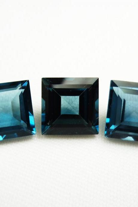7mm Natural London Blue Topaz Faceted Cut Square 2 Pieces Top Quality Blue Color - Loose Gemstone Wholesale Lot For Sale