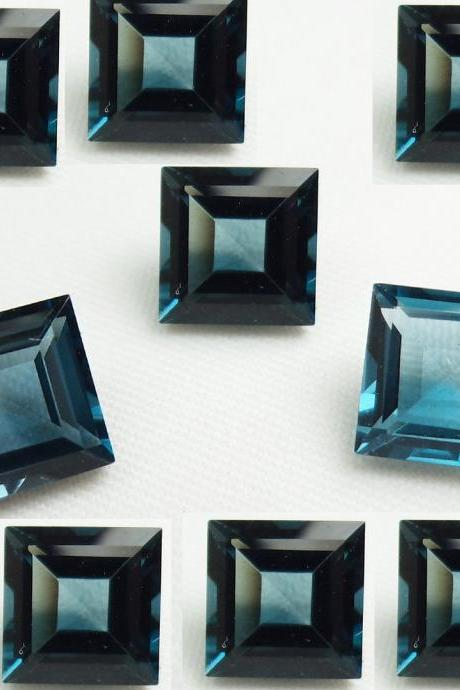 7mm Natural London Blue Topaz Faceted Cut Square 5 Pieces Top Quality Blue Color - Loose Gemstone Wholesale Lot For Sale