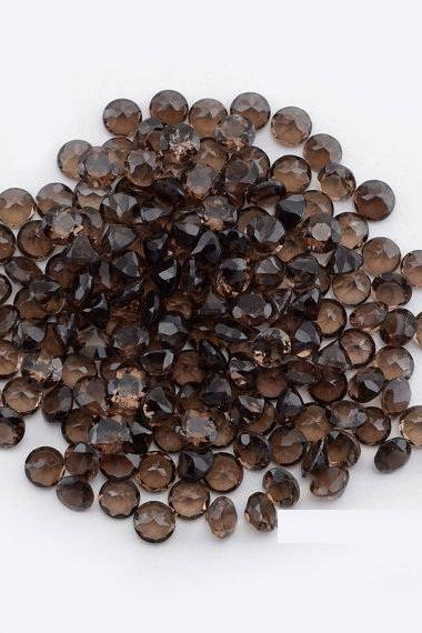Natural Smoky Quartz 7mm Faceted Cut Round 2 Pieces Lot Brown Color Top Quality - Natural Loose Gemstone Wholesale Lot For Sale