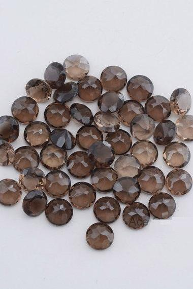 Natural Smoky Quartz 9mm Faceted Cut Round 50 Pieces Lot Brown Color Top Quality - Natural Loose Gemstone Wholesale Lot For Sale