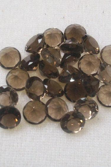 Natural Smoky Quartz 10mm Faceted Cut Round 10 Pieces Lot Brown Color Top Quality - Natural Loose Gemstone Wholesale Lot For Sale
