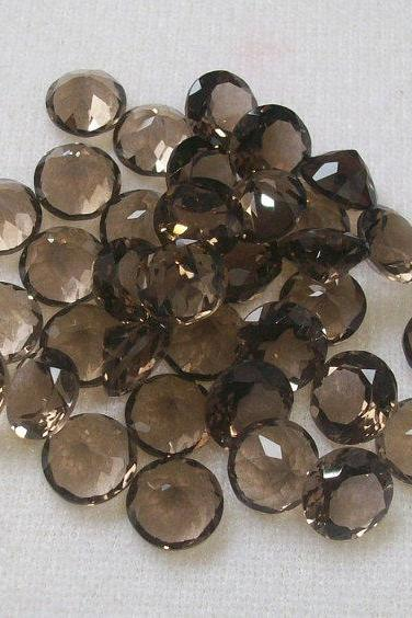 Natural Smoky Quartz 10mm Faceted Cut Round 50 Pieces Lot Brown Color Top Quality - Natural Loose Gemstone Wholesale Lot For Sale