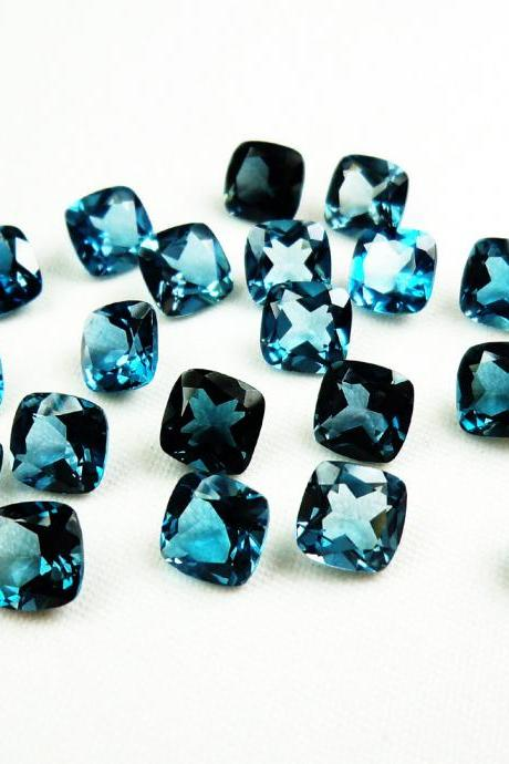 4mm Natural London Blue Topaz Faceted Cut Cushion 50 Pieces Top Quality Blue Color - Loose Gemstone Wholesale Lot For Sale