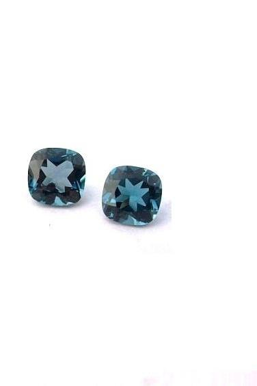 6mm Natural London Blue Topaz Faceted Cut Cushion 1 Piece Top Quality Blue Color - Loose Gemstone Wholesale Lot For Sale