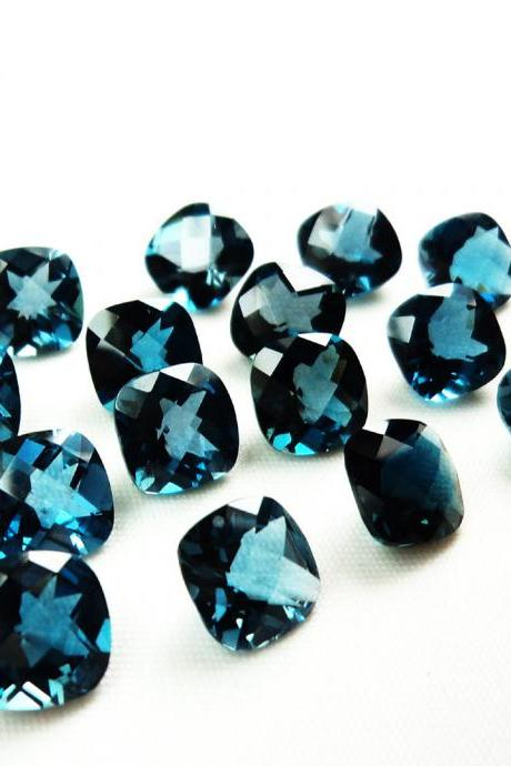 6mm Natural London Blue Topaz Faceted Cut Cushion 10 Pieces Top Quality Blue Color - Loose Gemstone Wholesale Lot For Sale