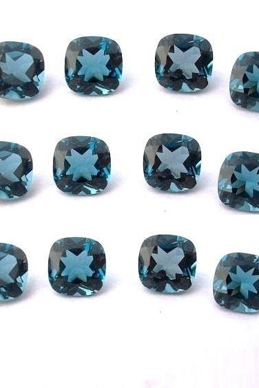 7mm Natural London Blue Topaz Faceted Cut Cushion 10 Pieces Top Quality Blue Color - Loose Gemstone Wholesale Lot For Sale