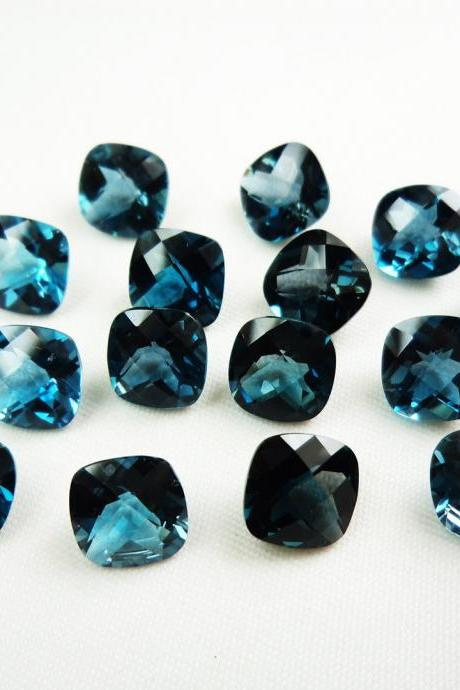 7mm Natural London Blue Topaz Faceted Cut Cushion 25 Pieces Top Quality Blue Color - Loose Gemstone Wholesale Lot For Sale