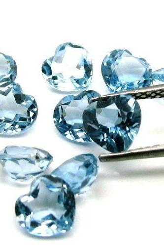6mm Natural London Blue Topaz Faceted Cut Heart 2 Pieces Top Quality Blue Color - Loose Gemstone Wholesale Lot For Sale