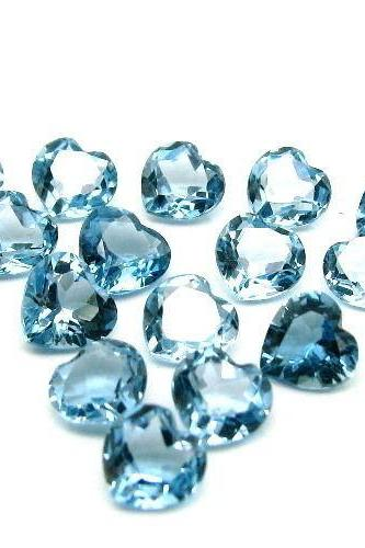 6mm Natural London Blue Topaz Faceted Cut Heart 50 Pieces Top Quality Blue Color - Loose Gemstone Wholesale Lot For Sale