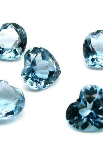 7mm Natural London Blue Topaz Faceted Cut Heart 5 Pieces Top Quality Blue Color - Loose Gemstone Wholesale Lot For Sale