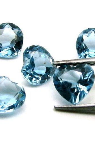 8mm Natural London Blue Topaz Faceted Cut Heart 2 Pieces Top Quality Blue Color - Loose Gemstone Wholesale Lot For Sale