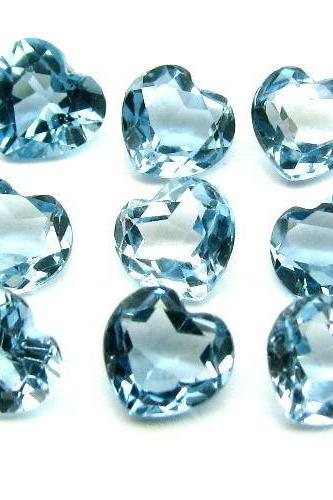 8mm Natural London Blue Topaz Faceted Cut Heart 10 Pieces Top Quality Blue Color - Loose Gemstone Wholesale Lot For Sale