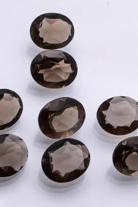 Natural Smoky Quartz 9x11mm Faceted Cut Oval 10 Pieces Lot Brown Color Top Quality - Natural Loose Gemstone Wholesale Lot For Sale