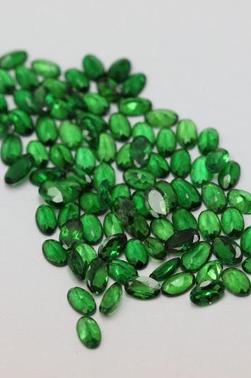 Natural Tsavorite 3x4mm 25 Pieces Faceted Cut Oval AAA Green Color Top Quality Loose Gemstone