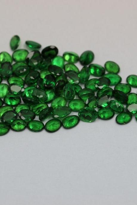 Natural Tsavorite 5x4mm 2 Pieces Faceted Cut Oval AAA Green Color Top Quality Loose Gemstone