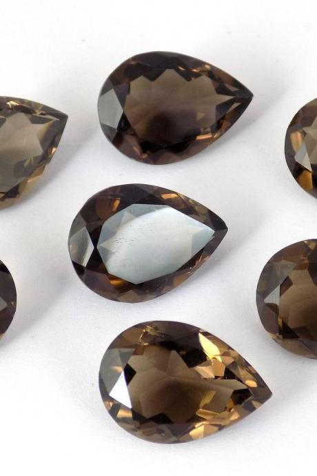 Natural Smoky Quartz 16x12mm Faceted Cut Pear 1 Pieces Lot Brown Color Top Quality - Natural Loose Gemstone Wholesale Lot For Sale