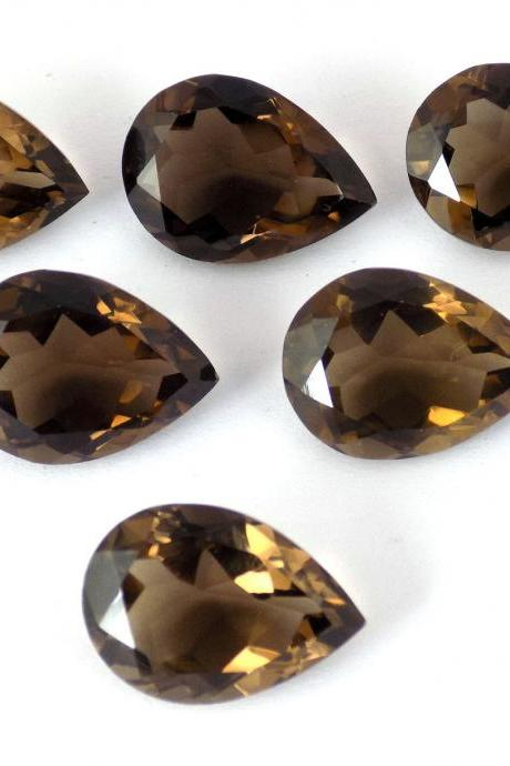 Natural Smoky Quartz 15x20mm Faceted Cut Pear 25 Pieces Lot Brown Color Top Quality - Natural Loose Gemstone Wholesale Lot For Sale