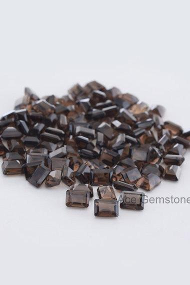 Natural Smoky Quartz 7x5mm Faceted Cut Octagon 100 Pieces Lot Brown Color Top Quality - Natural Loose Gemstone Wholesale Lot For Sale