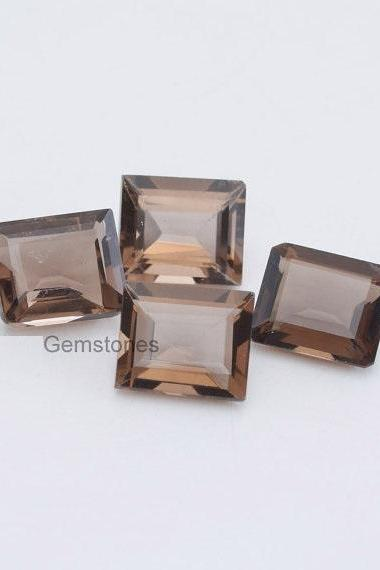 Natural Smoky Quartz 18x13mm Faceted Cut Octagon 25 Pieces Lot Brown Color Top Quality - Natural Loose Gemstone Wholesale Lot For Sale
