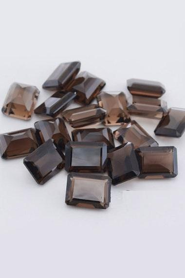 Natural Smoky Quartz 15x20mm Faceted Cut Octagon 50 Pieces Lot Brown Color Top Quality - Natural Loose Gemstone Wholesale Lot For Sale