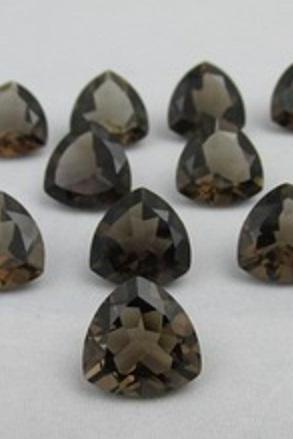 Natural Smoky Quartz 6mm Faceted Cut Trillion 10 Pieces Lot Brown Color Top Quality - Natural Loose Gemstone Wholesale Lot For Sale