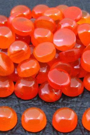 Natural Carnelian 4mm Cabochon Round 5 Pieces Lot Orange Color - Natural Loose Gemstone