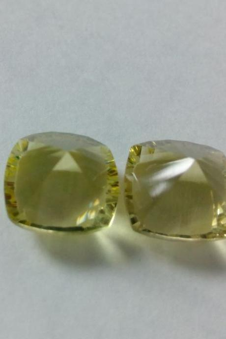 Natural Lemon Quartz 11mm Cushion Concavre Cut 1 Pieces Lot Yellow Color - Natural Loose Gemstone