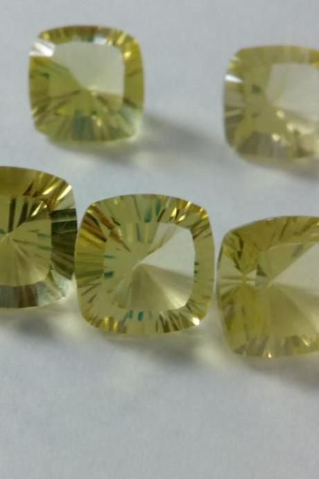Natural Lemon Quartz 14mm Cushion Concavre Cut 5 Pieces Lot Yellow Color - Natural Loose Gemstone