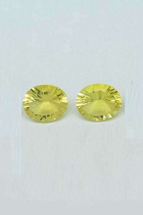 Natural Lemon Quartz 9x11mm Oval Concavre Cut 2 Pieces Yellow Color - Natural Loose Gemstone
