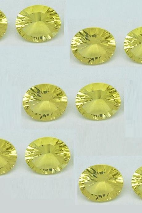 Natural Lemon Quartz 10x12mm Oval Concavre Cut 10 Pieces Yellow Color - Natural Loose Gemstone