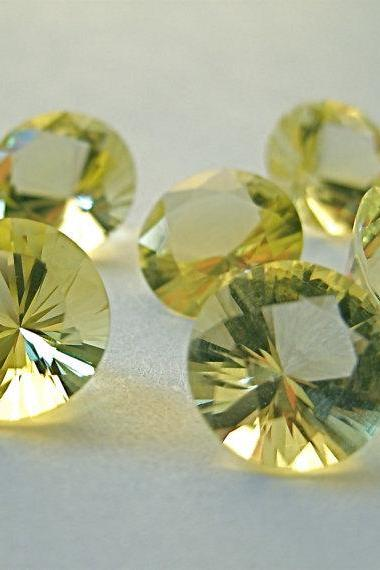 Natural Lemon Quartz 14mm Round Concavre Cut 50 Pieces Yellow Color - Natural Loose Gemstone
