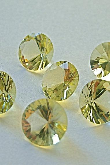 Natural Lemon Quartz 18mm Round Concavre Cut 10 Pieces Yellow Color - Natural Loose Gemstone