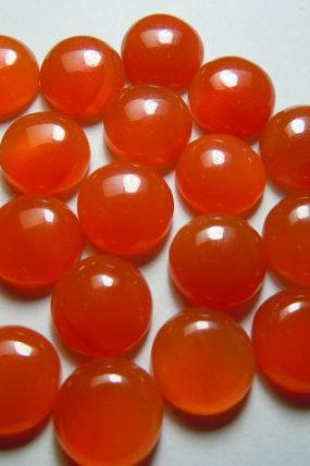 Natural Carnelian 7mm Cabochon Round 25 Pieces Lot Orange Color - Natural Loose Gemstone
