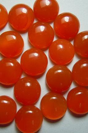 Natural Carnelian 10mm Cabochon Round 5 Pieces Lot Orange Color - Natural Loose Gemstone