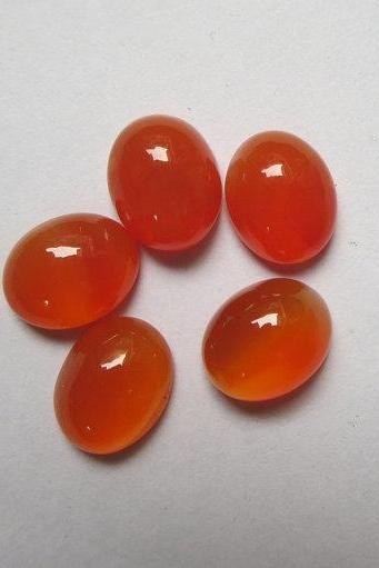 Natural Carnelian 7x5mm Cabochon Oval 2 Pieces Lot Orange Color - Natural Loose Gemstone