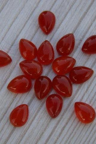 Natural Carnelian 6x4mm Cabochon Pear 25 Pieces Lot Orange Color - Natural Loose Gemstone
