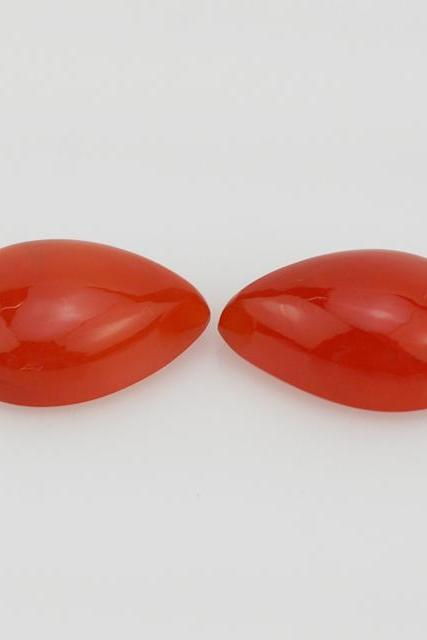 Natural Carnelian 10x7mm Cabochon Pear 2 Pieces Lot Orange Color - Natural Loose Gemstone