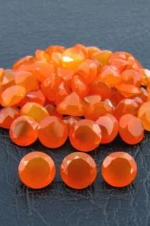 Natural Carnelian 7mm Faceted Cut Round 25 Pieces Lot Orange Color - Natural Loose Gemstone