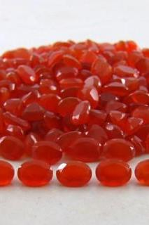 Natural Carnelian 4x6mm Faceted Cut Oval 10 Pieces Lot Orange Color - Natural Loose Gemstone