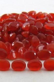 Natural Carnelian 9x7mm Faceted Cut Oval 25 Pieces Lot Orange Color - Natural Loose Gemstone