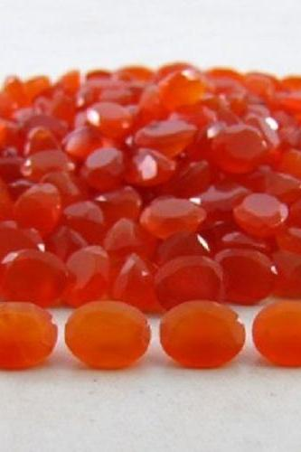 Natural Carnelian 10x8mm Faceted Cut Oval 25 Pieces Lot Orange Color - Natural Loose Gemstone