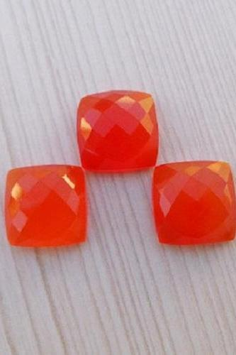 Natural Carnelian 6x4mm Faceted Cut Cushan 2 Pieces Lot Orange Color - Natural Loose Gemstone