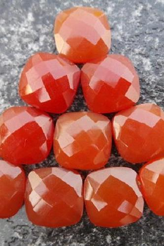Natural Carnelian 6x4mm Faceted Cut Cushan 5 Pieces Lot Orange Color - Natural Loose Gemstone