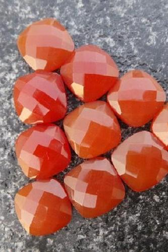 Natural Carnelian 10x12mm Faceted Cut Cushan 25 Pieces Lot Orange Color - Natural Loose Gemstone