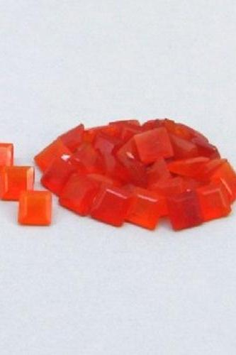 Natural Carnelian 6mm Faceted Cut Square 2 Pieces Lot Orange Color - Natural Loose Gemstone