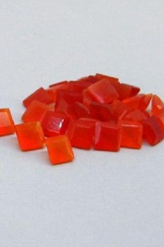 Natural Carnelian 8mm Faceted Cut Square 2 Pieces Lot Orange Color - Natural Loose Gemstone
