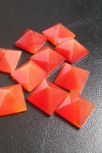 Natural Carnelian 10mm Faceted Cut Square 2 Pieces Lot Orange Color - Natural Loose Gemstone
