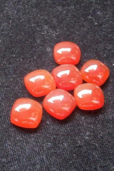 Natural Carnelian 6x4mm Cabochon Cut Cushan 25 Pieces Lot Orange Color - Natural Loose Gemstone
